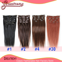 Wholesale Cheap Brazilian Clip In Human Hair Extensions Silky Staight g set Remy Human Hair quot quot Top Quality Clip In Hair Extensions
