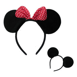 Wholesale Red bows Minnie Mickey mouse ears party Girls boys kids children hair Accessories headband headwear Kids Birthdays headband