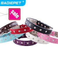 Collars big dog leather collars - Big Sale Faux Croc PU Leather with Crystal Decoration Dog Pet Collar Pet Product