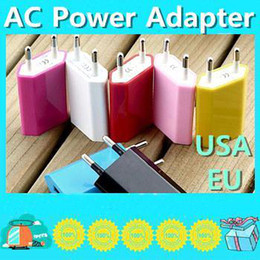 Wholesale 200PCS AC Power Adapter US Plug USB Wall Travel Charger US EU Adapter for iphone S for Samsung Galaxy Cellphones Multi color LDAAAA