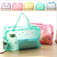 Bag bath storage - Colourful PVC Transpant waterproof cosmetic bag wash bath bags poch makeup storage organizer pocket gift for women girls factory prices