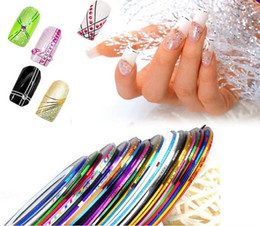 Wholesale 2014 Hot Selling Fashion Mix Colors Rolls Striping Tape Metallic Yarn Line Nail Art Decoration Sticker