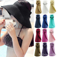 Visor   2014 Fashion New Women Lady Foldable Roll Up Sun Beach Wide Brim Straw Visor Hat Cap (fx240) Free Shipping