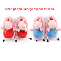 Unisex 8-11 Years Video Games Retail New 2014 Peppa pig family Plush Slippers Peppa pig George pig indoor Slipper plush shoes vey soft