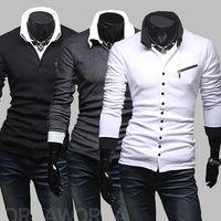 Wholesale 2014 Korean Sweaters version of the new unique diagonal zipper hit the color Slim men s long sleeve knit shirts A19