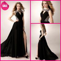 Wholesale 2014 Black Flowing Beautiful Unique Chic Crew Sequin Chiffon A line Floor Length One Side Slit Prom Dresses
