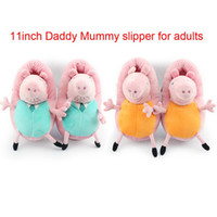 Unisex 8-11 Years Video Games Retail New 2014 Peppa pig family Plush Slippers Mummy pig Daddy Pig indoor Slipper plush shoes vey soft