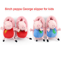 Unisex 8-11 Years Video Games EMS free shipping New 2014 Peppa pig family Plush Slippers Peppa pig George pig indoor Slipper plush shoes vey soft