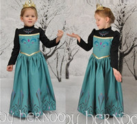 Wholesale Fashion Frozen Princess Elsa long Sleeve blue Dress Children Baby Girl Party princess Tutu lace Dresses crown LY