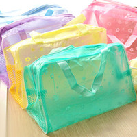 Wholesale Hot Colourful PVC Transpant waterproof cosmetic bag wash bath bags poch makeup storage organizer pocket gift for women girls factory prices