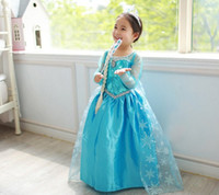 Summer frozen costume - New Frozen Elsa Princess summer girls dress princess dress costume movie role playing Elsa from the frozen child Anna prom dress QY0006