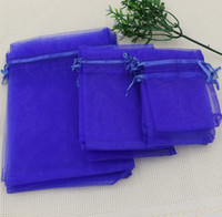 Blue Wedding gift - MIC Royal Blue x9cm x11CM x18CM Organza Jewelry Gift Pouch Bags For Wedding favors beads jewelry Bag