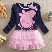 TuTu Summer princess skirt Wholesale 2014 Baby Girls Long sleeve Tutu dress cute peppa pig Layered dress girl princess dresses 2-6Y baby clothing Ribbon Decoration