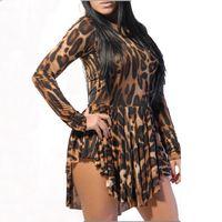Casual Dresses leopard - 2014 Summer Sexy Leopard Short Dress Fashion Women Midi Bandage Dress Long Sleeve Irregular Club Dress Plus Size