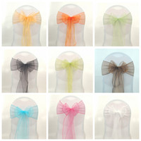 Chair Covers and Sashes   100pcs Wedding Party Banquet Organza Sash Bows For Chair Cover 36COLORS 17X275cm