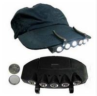 Wholesale 5 Leds Cap Hat Light Clip On LED Fishing Camping Head Light HeadLamp Cap