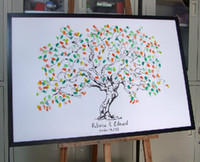 Wholesale Canvas Printing Fingerprint Wedding Tree Thumbprint Wedding Guest Book Tree Unique Guest book alternative Vintage Tree Personalize Guestbook