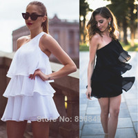 Wholesale 2014 Sexy One Shoulder Ruffles Cake Sundress Black White Color Dress Fashion Women Summer Dresses
