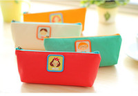 Wholesale Freeshipping New Fancy Leather Pencil bag Kawaii pencil case pen Pocket Holder Cosmetic bag pouch