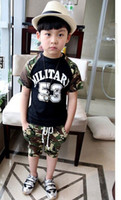Boy Summer Sleeveless 2-Piece Sets Summer children boy 53 camouflage two-piece t shirt+pant