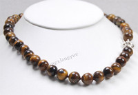 Wholesale Natural MM tiger s eye Round beads necklace quot Crystal Healing