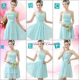 New Arrivel Lovely 6 Styles Custom Made Elegant Lace-up Back Chiffon Knee-Length Bridesmaid Dresses  Wedding Party Dresses