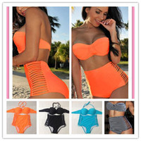 Wholesale Neon Coral Orange Bikini Bustier Top High Waisted Bikini Spandex Panties Swimsuit Women Side Slits Bandage Swimwear Plus Size