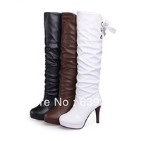 Cheap Half Boots boot plastic Best Women PU lace up knee boot