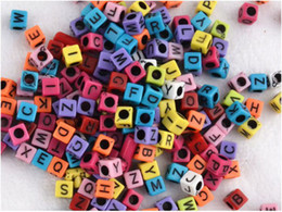 Wholesale Loom band mm Multi color With Black Alphabet Pony Beads Letter Beads Cube Shape Beads For Loom Band Bracelet pc