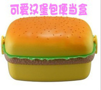 Wholesale Free Shippment novelty Plastic dinnerware set lunch Bowel Hamburger lunch box food container round and square style pc