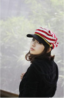 military hats - Spring and autumn stripe military hat cotton navy cap benn flat military hat casual all match sailor cap