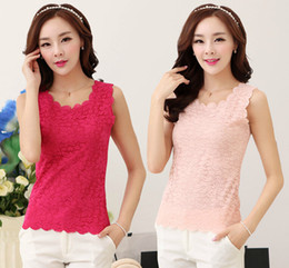 Wholesale Hot Sell Women s Chiffon Round Neck Tank Top Sleeveless Lace Black White Rose Purple Apricot Pink Color Vest Shirt Lady s Shirts