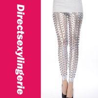 Leggings Skinny,Slim Women Silver Black Blue Gold Punk Fish Scale Pierced Holes Fashion Leggings LC79312 Brand New + Cheaper Price + Free Shipping