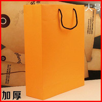 Paper Hand Length Handle Yes Free shipping 10pcs lot 32cm*11cm*42cm kraft paper gift bag, , Festival gift bags, Paper bag with handles, wholesale