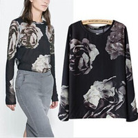 Women Polyester Polo Fashion 2014 Womens Tops Chiffon Floral Print Regular Full Length Sleeve Round Neck Loose T-shirts Tees New Summer Spring