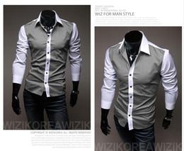 Wholesale Factory direct spring and summer men s Korean men cultivating long sleeved shirt shirt stitching tide fashion shirts men