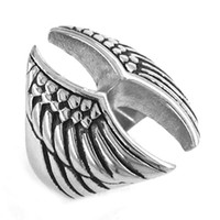 Wholesale Cool Eagle Wings Ring Stainless Steel Jewelry Fashion Punk Motor Biker Wing Men Ring SWR0208