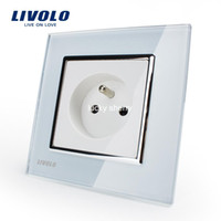 16A ac power socket panel - Livolo New Outlet French Standard Wall Power Socket VL C7C1FR White Crystal Glass Panel AC V A