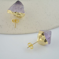 Stud drusy jewelry - DIY Pair Gold plated Edge amp Purple Drusy Druzy Stud Earrings Jewelry Finding