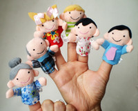 Wholesale 6pcs set Family Finger Puppets Cloth Doll Baby Educational Toy Talking Props Toys Baby Stories Helper Gift