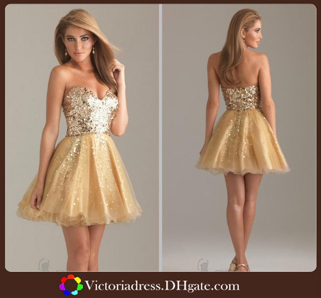 bling bling sweetheart girls dress homecoming short evening mini dress gold color a line backless sequins - Gold Color Dress