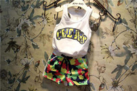 Wholesale 2014 Summer Korea Boys Children cloth White Tank Top Camouflage Shorts Outfit Two Pieces Sets Kids Clothes colors cm T K0102