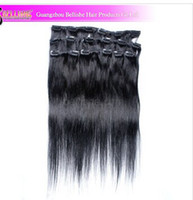 Wholesale Clips in n remy Human Hair Extensions full head HY