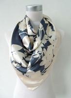 Wholesale 2014 Fashion Brand Women Beige Polyester Silk Scarf Shawl New Style Big Square Ladies Satin Scarf Printed Silk Wraps cm