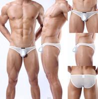 Briefs Fashion Geometric Sexy gauze Sheer brand penis sheath see through mens lace panties cool breathable mesh Transparent briefs Bikinis Underwear Bottoms