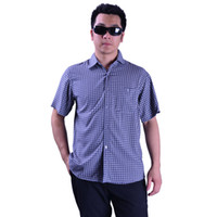 Cheap 2014 Male Silk Short-sleeve Shirt Printed,Fashion Men Mulberry Silk Shirt,Round Pattern Navy Blue Short For Summer 611 - 4