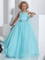 Reference Images Girl Applique Princess  Blue Sweet Pleated Organza Ball Gown Girls Pageant Dresses With Rinestone Sash Flower Girl Dresses