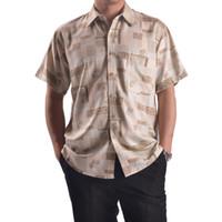 Men 100% Linen Shirts 2014 Male Silk Shirt,Fashion Brand Khaki ,Men Short Sleeves Casual Top Grade Printed For Summer 633 - 2