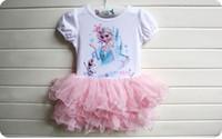 Cheap Froze Elsa Baby Tutu Dress Pure Cotton Ball Gown Gauze Girls Princess Tutu Dress Cartoon Dairy queen Children Dresses Kids Costumes Retail
