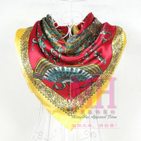 Scarves Print Adult 2014 Women Large Square Satin Silk Scarf For Women 90*90cm Female Red And Yellow Polyester Silk Scarves Autumn Spring Red Scarf